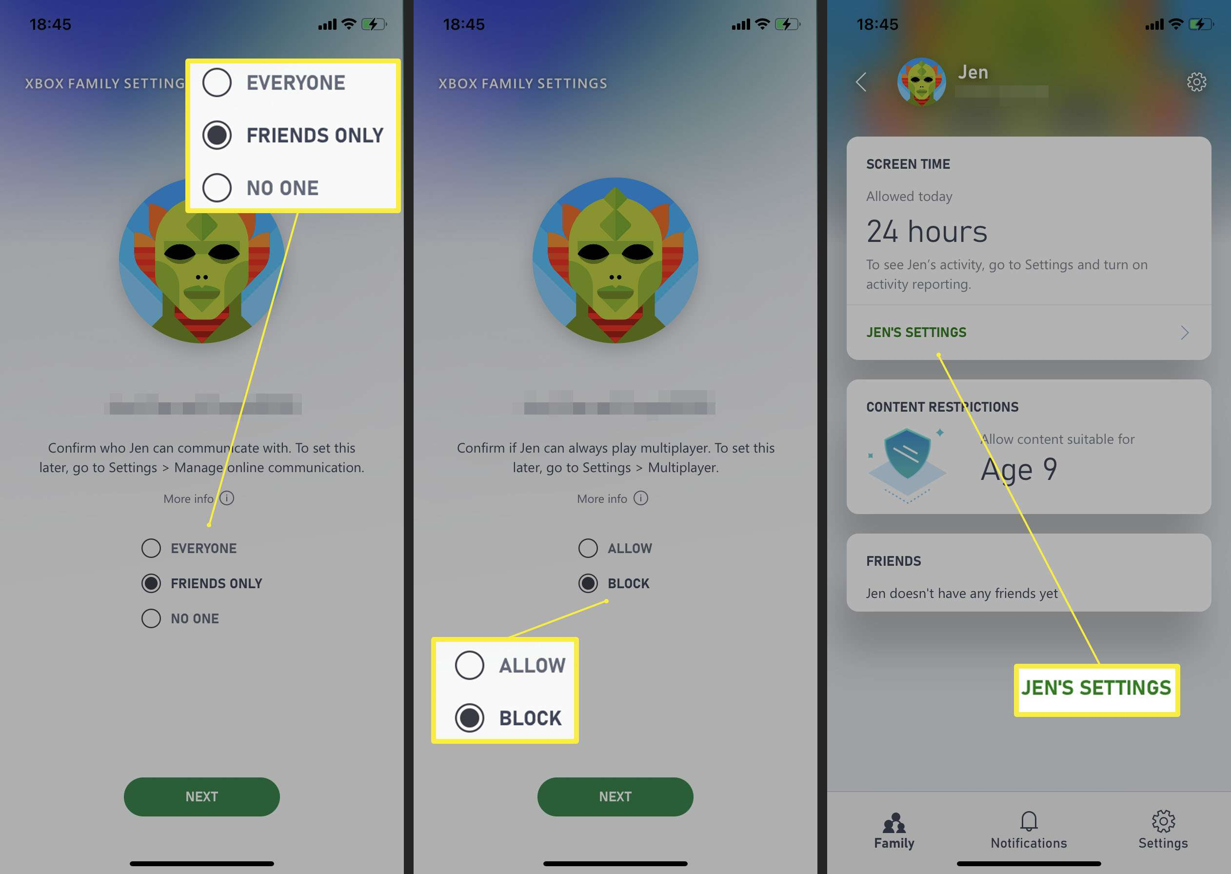 Adding safety settings to a family member in the Xbox Family Settings app