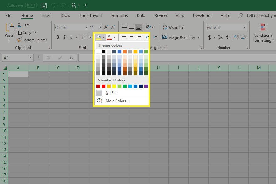 Excel fill color options