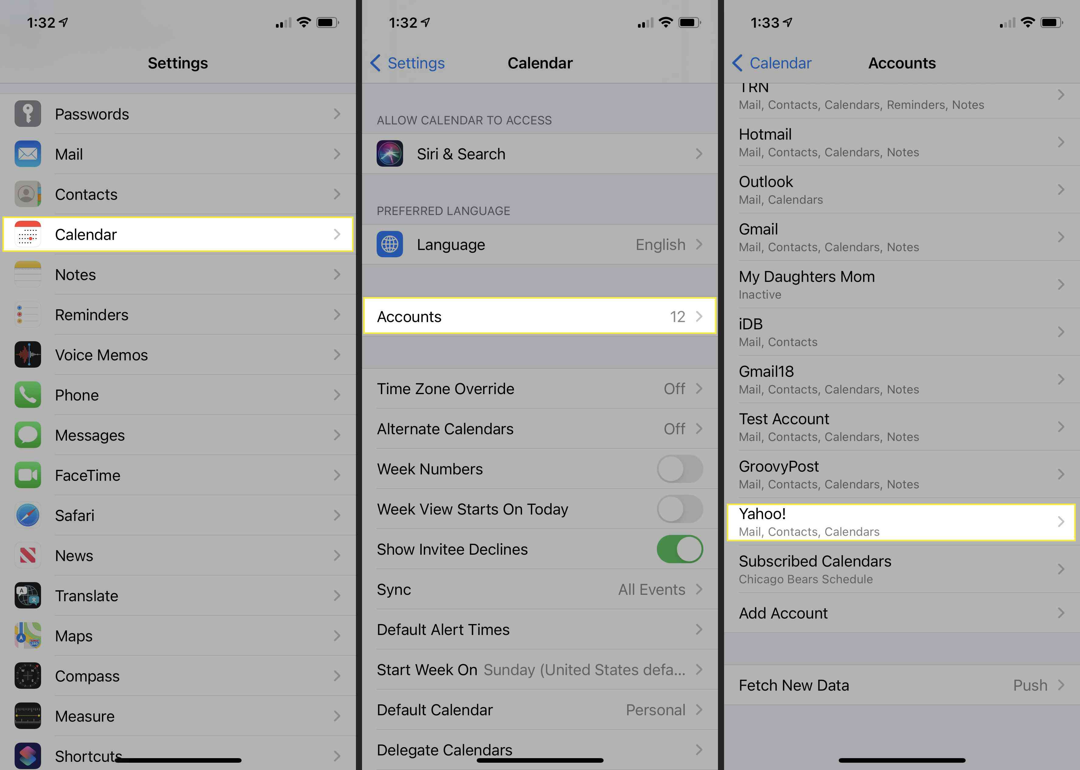 Steps to take to delete a calendar in the Settings app.