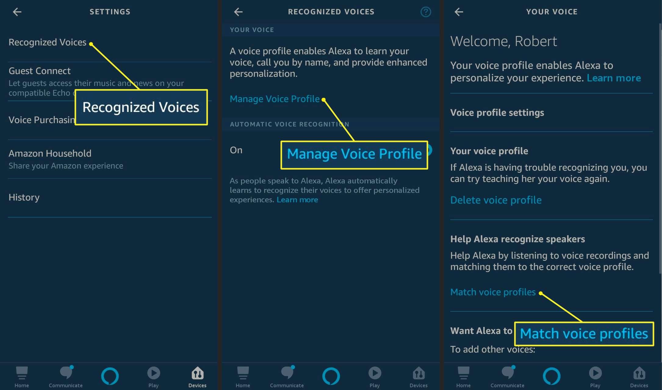 Matching voice profiles on Alexa app