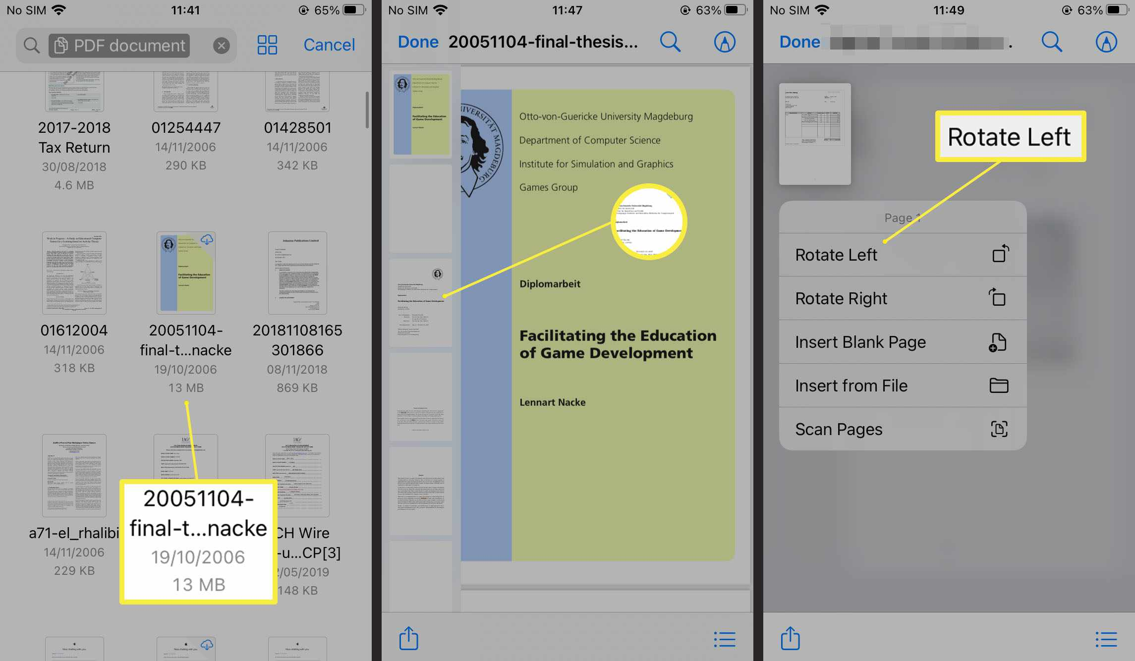 Steps required to rotate a PDF in Files app on iOS 15