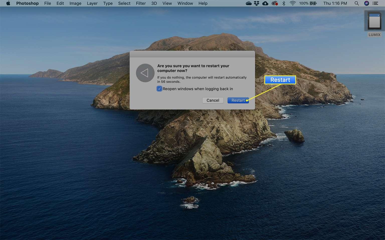Mac Restart button