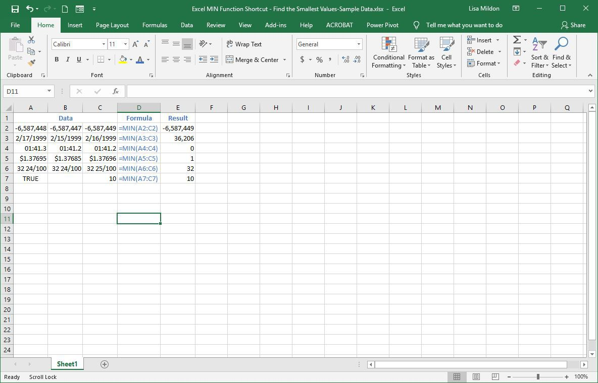 excel min function shortcut  find the smallest values