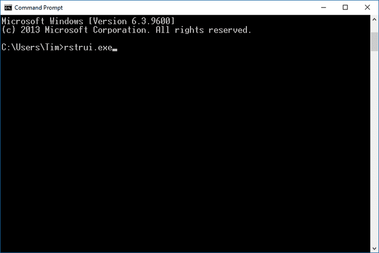 A screenshot of Command Prompt in Windows 10 with System Restore command
