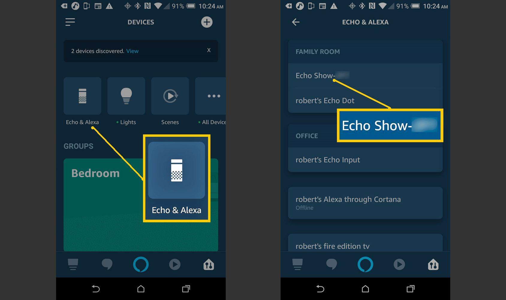 Alexa app – Select Device to Reset