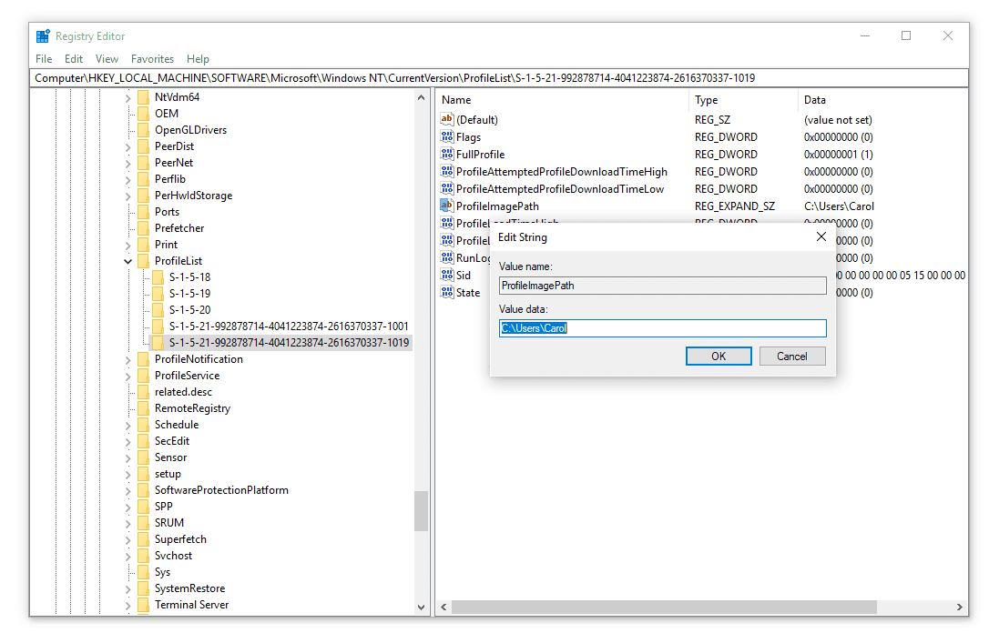 Example SID in the Windows 10 registry editor