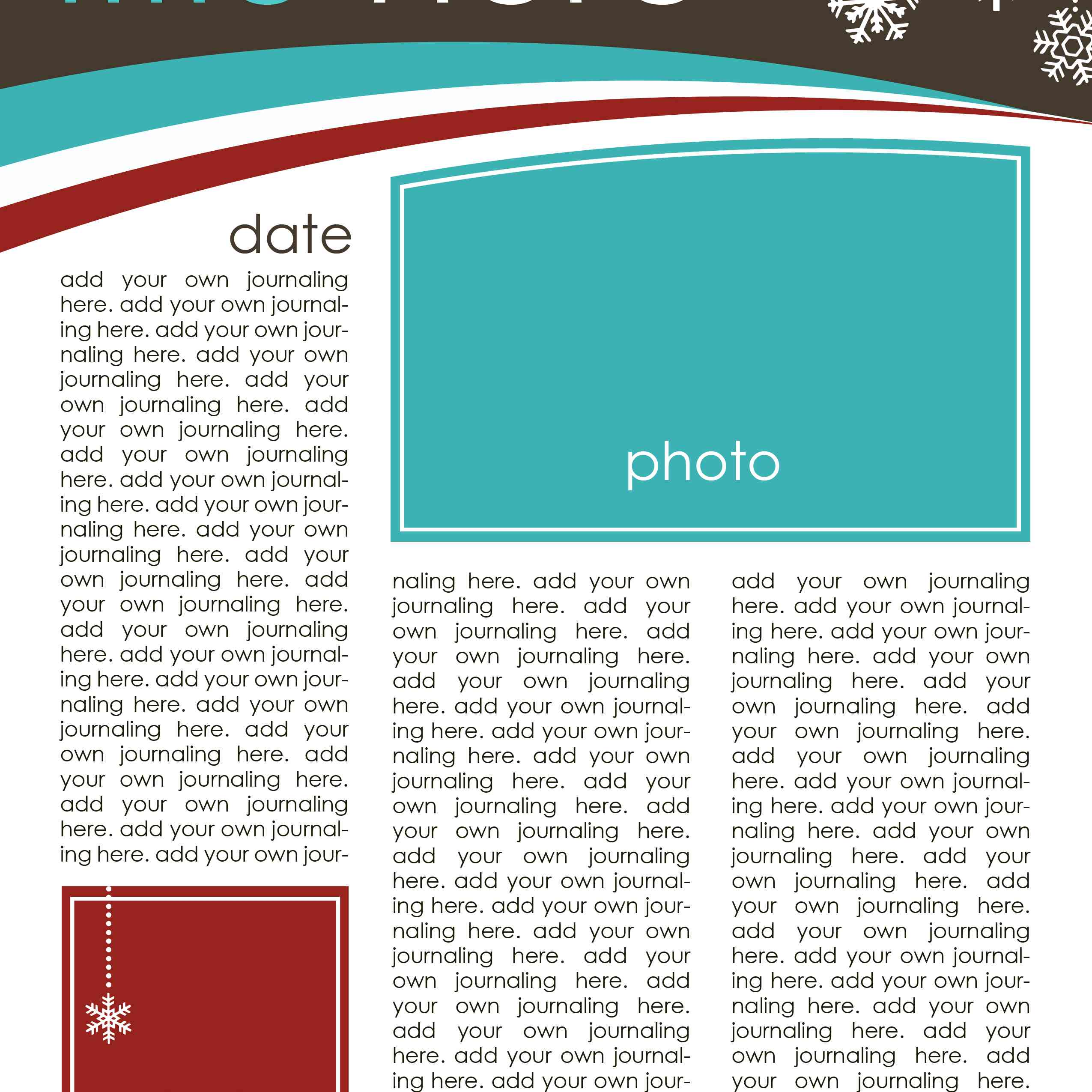 A blue, white, brown, and red Christmas newsletter template.