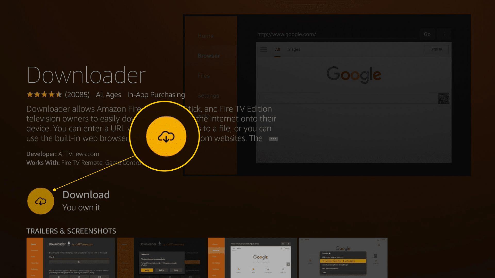 Download button for Downloader app