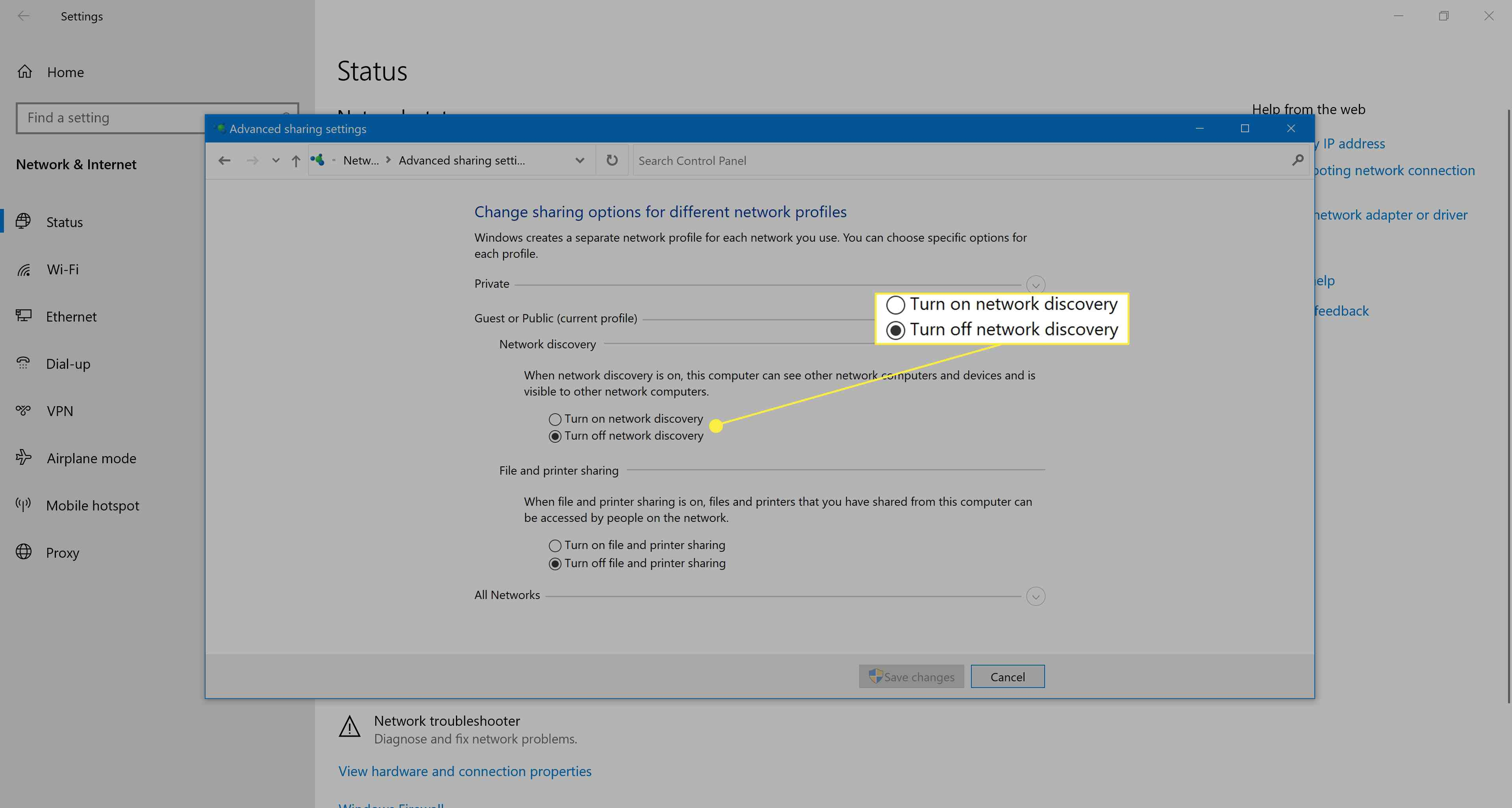 Windows 10 network discovery settings.