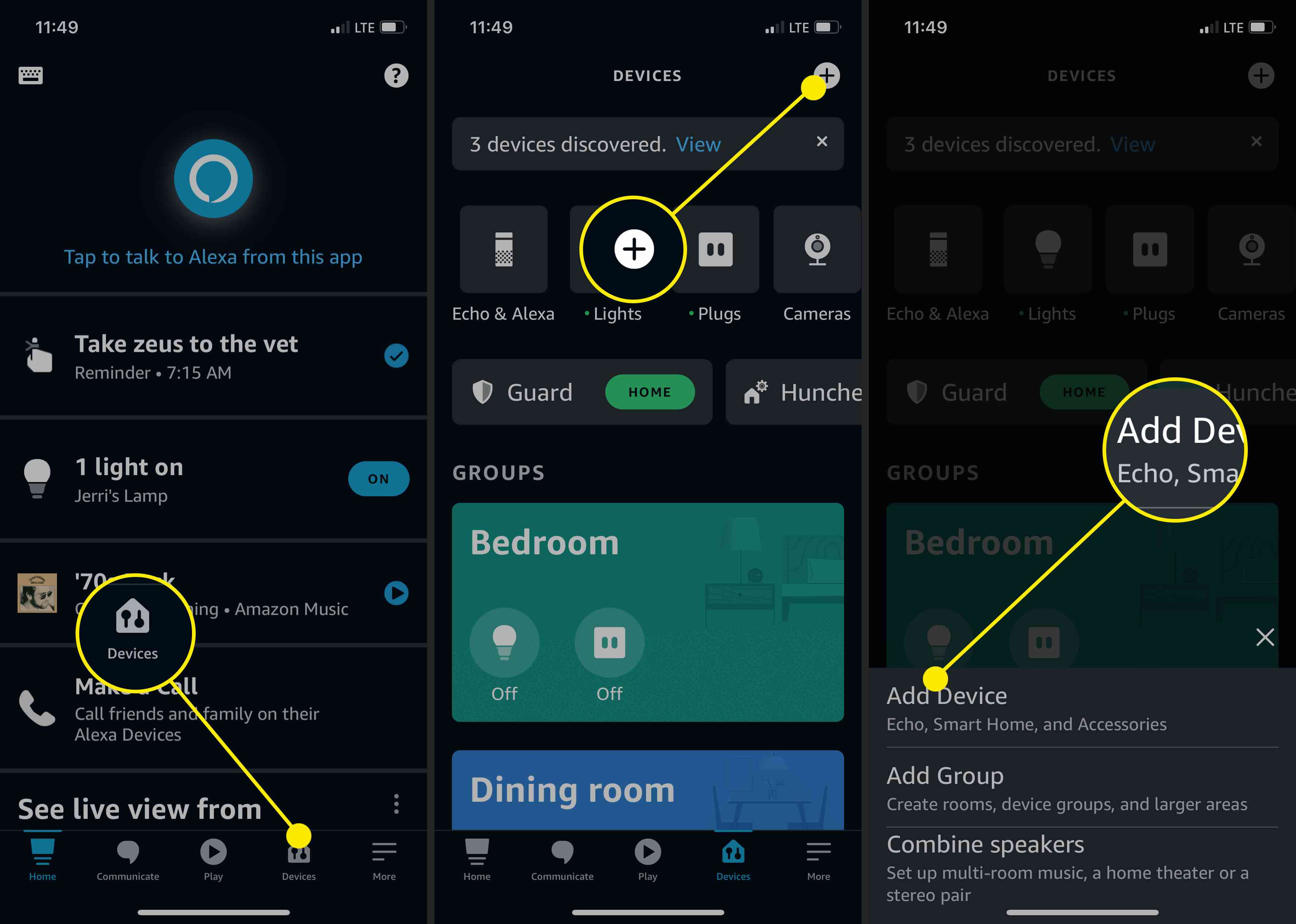 Screenshots showing how to add a device on the Amazon Alexa app.