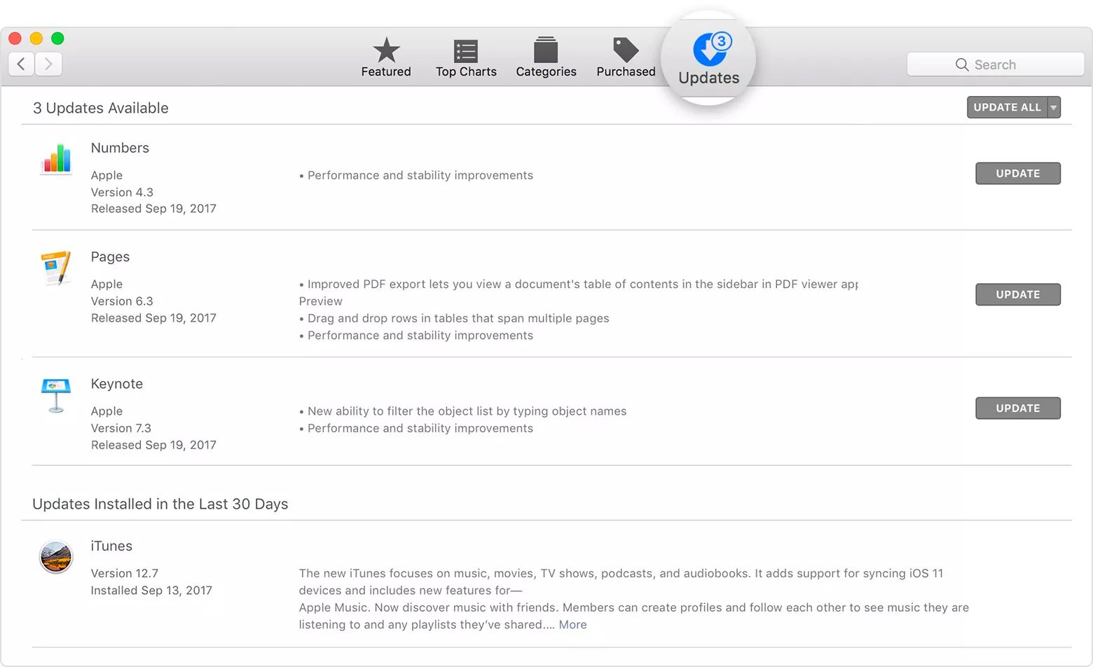 Mac App Store with Updates tab highlighted