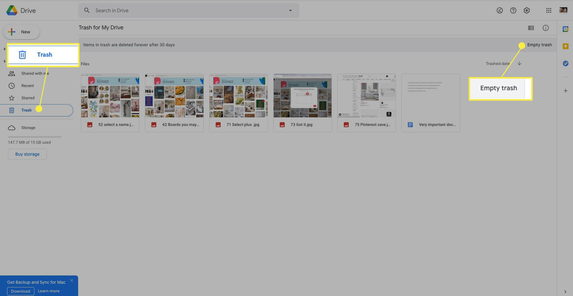 Google Drive with Trash and Empty Trash highlighted