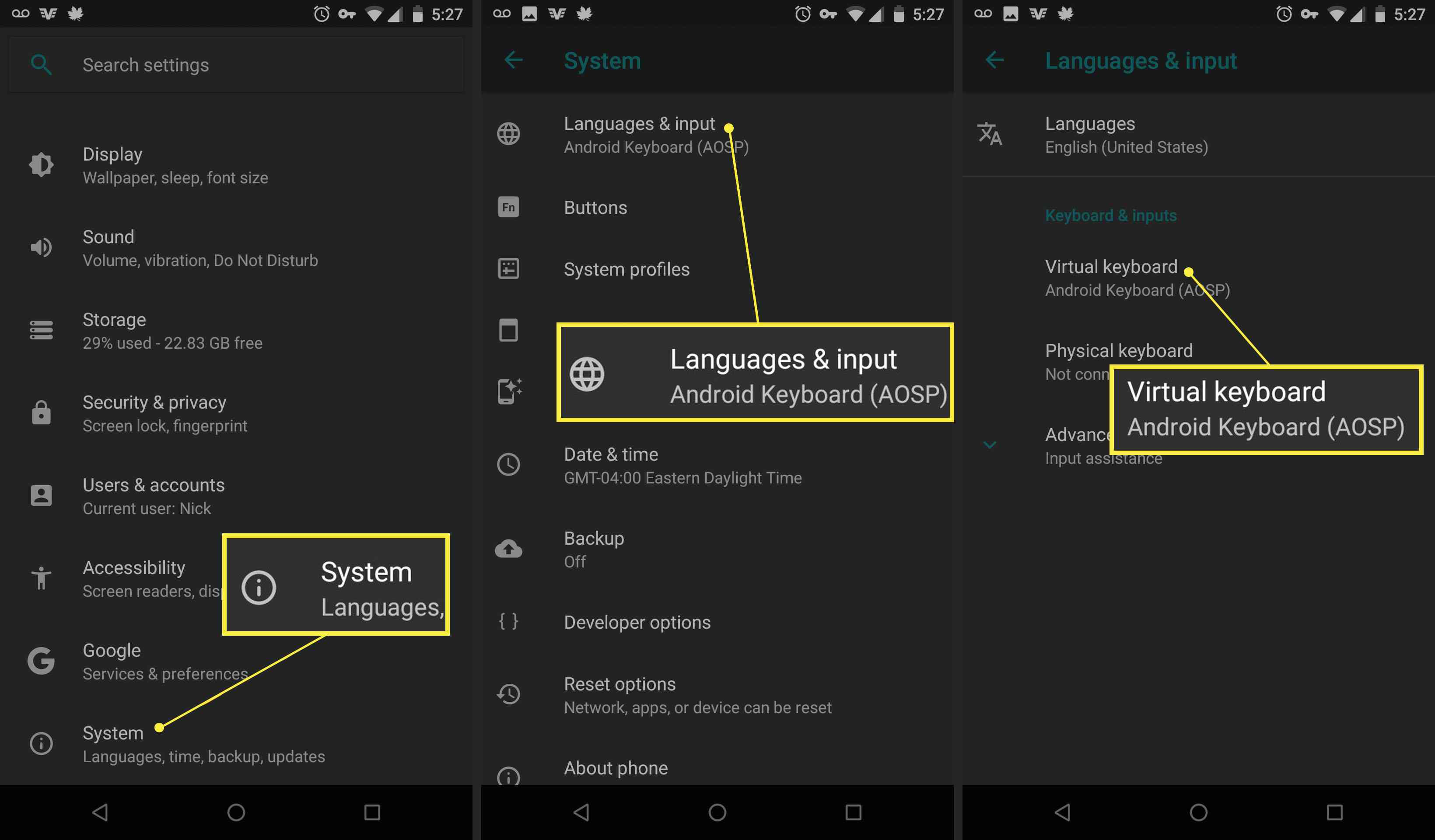 How to choose a new keyboard in Android