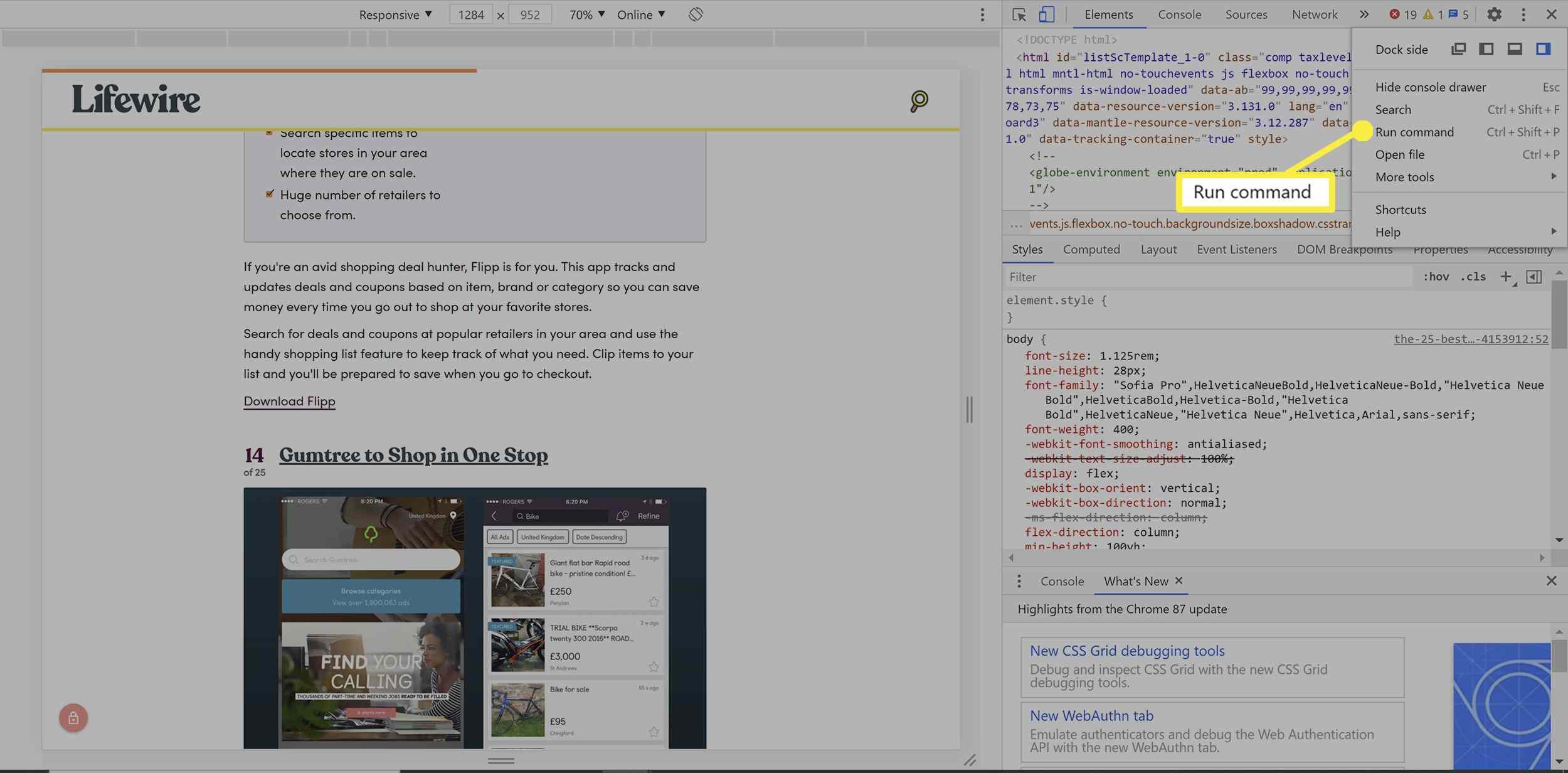 Screenshot options in Chrome developer tools.