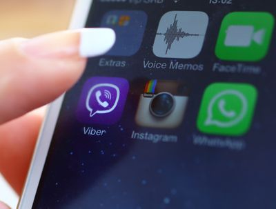 Launching Viber on iPhone 5s.