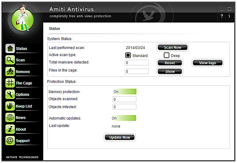 Screenshot of Amiti Antivirus in Windows 7