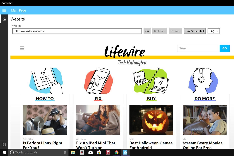 A screenshot of the Screenshot app as it captures a screenshot of the Lifewire website.