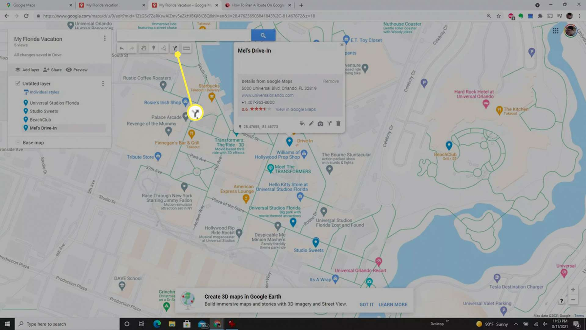 Launching directions in a customized Google Maps map.