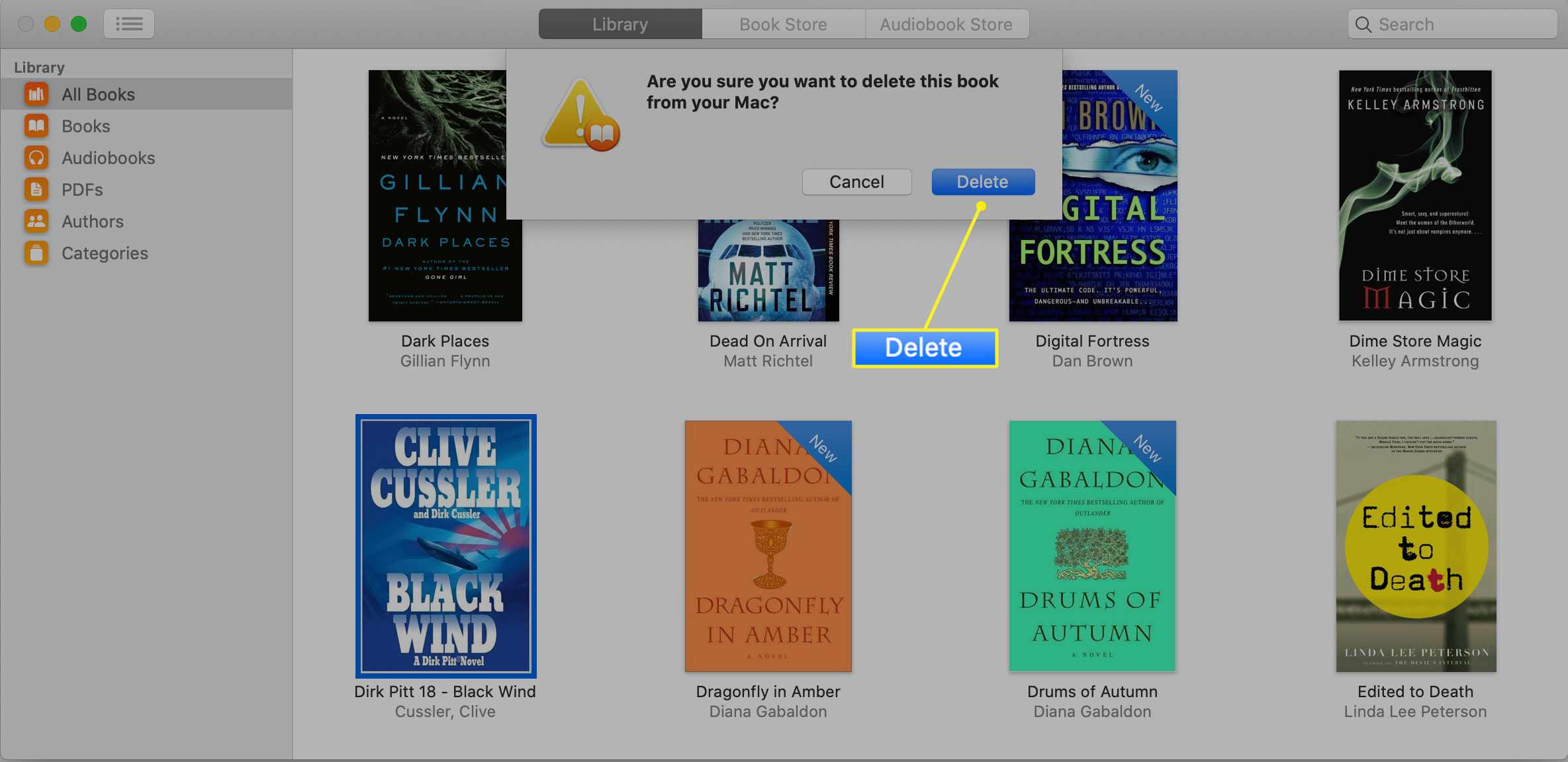 Confirmation screen for deleting a purchased book from the Books app