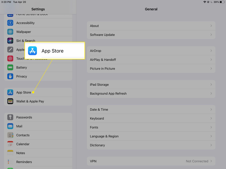 iPad settings with
