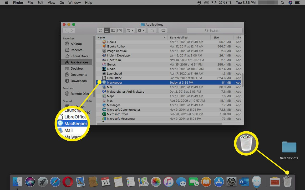 Viewing Applications in macOS.