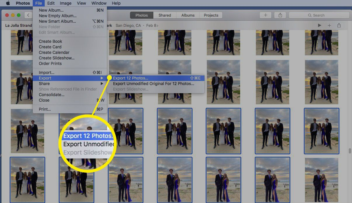 Screenshot of exporting images to new Photos library