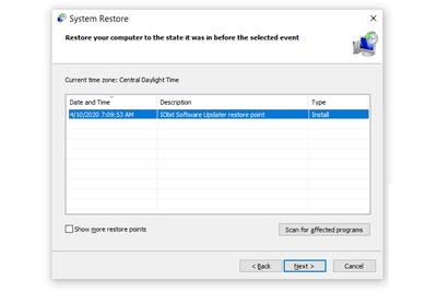 System Restore utility in Windows 10