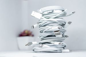 Stack of Apple lightning-to-usb cables