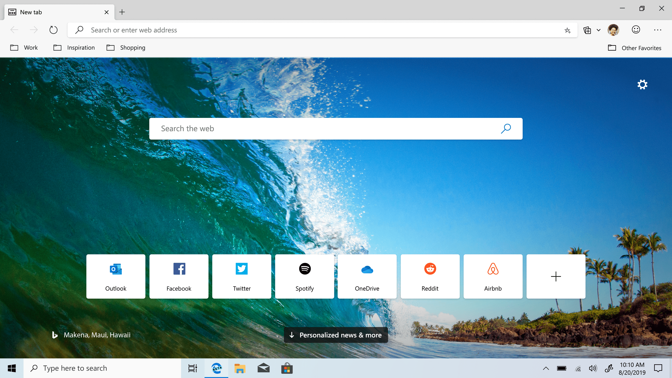 Microsoft Edge as it once looked in beta