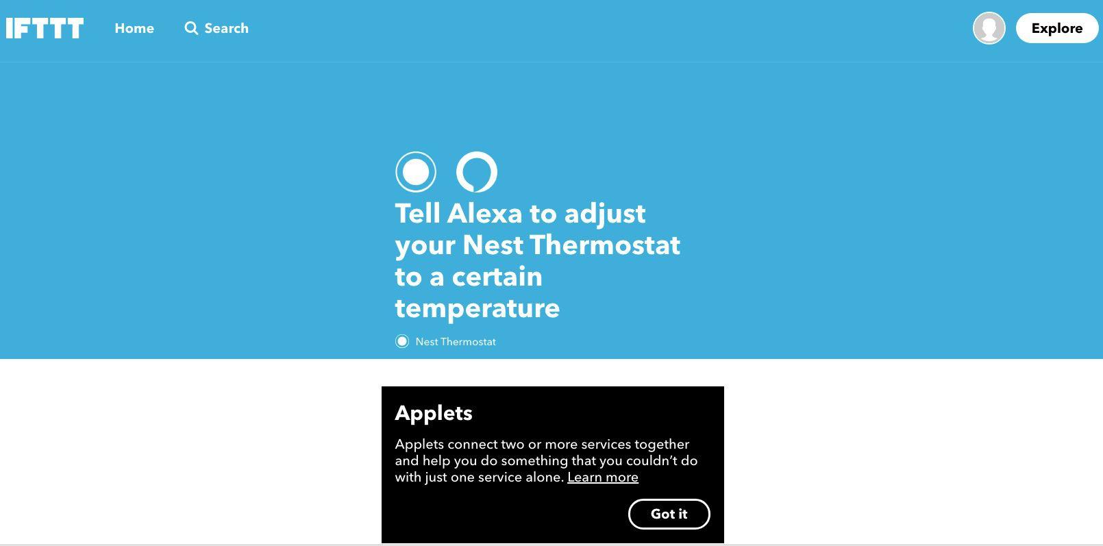 Screenshot of IFTTT applet that tells Alexa to adjust Nest Thermostat