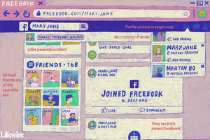 Illustration of possible fake Facebook account.