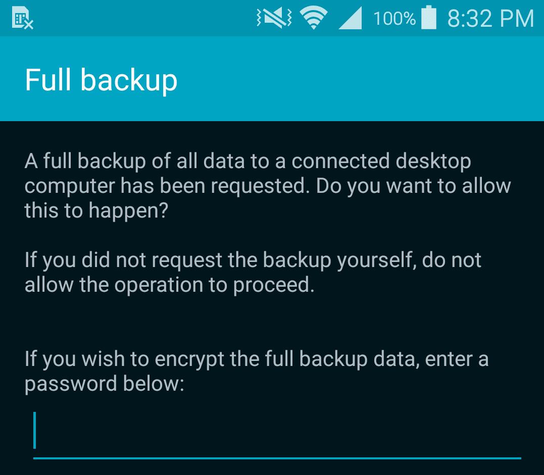 Screenshot of phone confirmation for full backup.