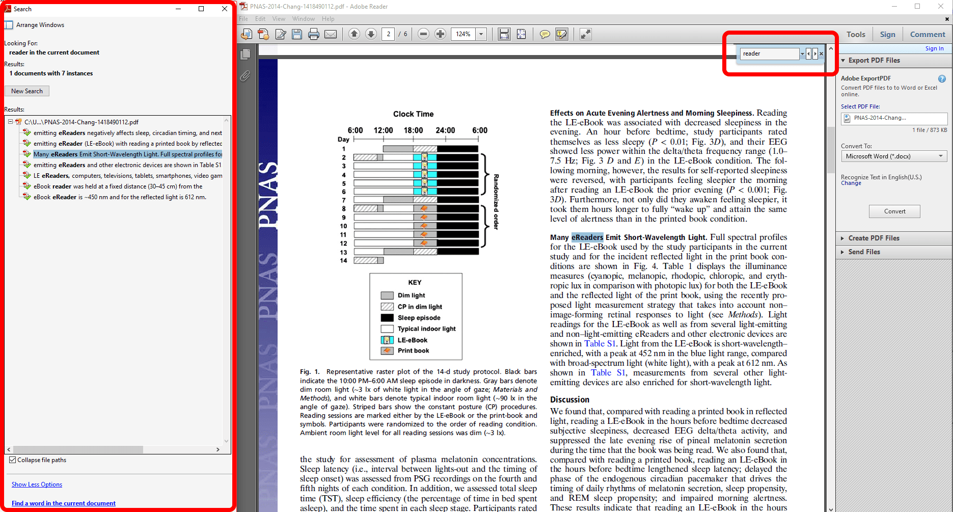 Adobe Reader with the search box highlighted