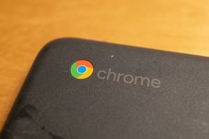 The Chrome logo on a Google Chromebook