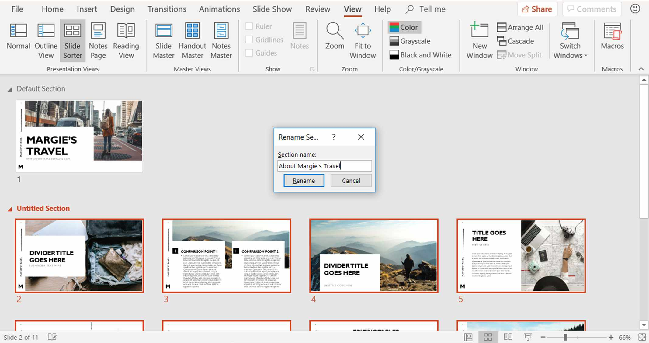 A screenshot showing how to change the name of a section in the PowerPoint Slide Sorter view