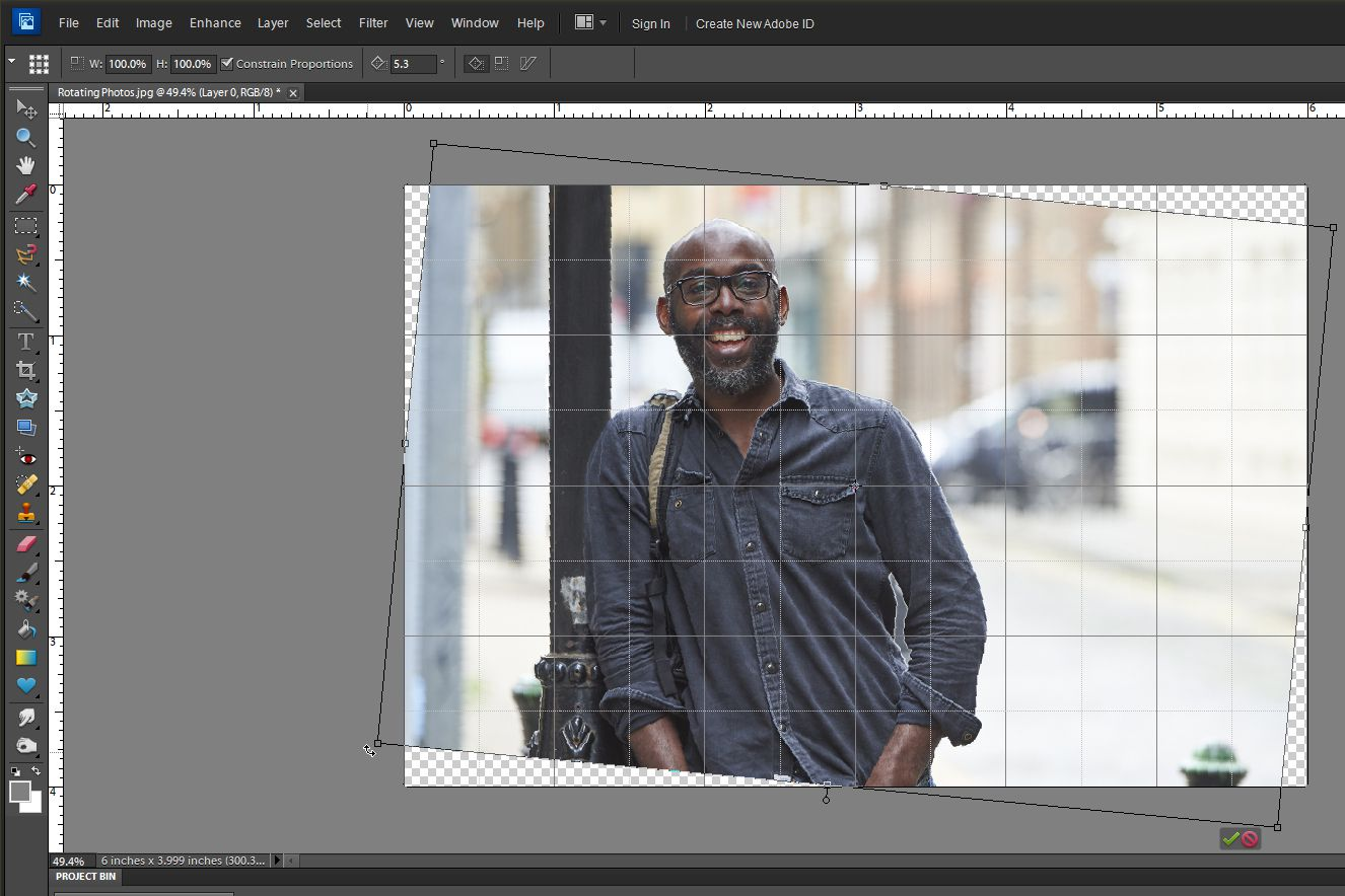 an image being rotated in Photoshop