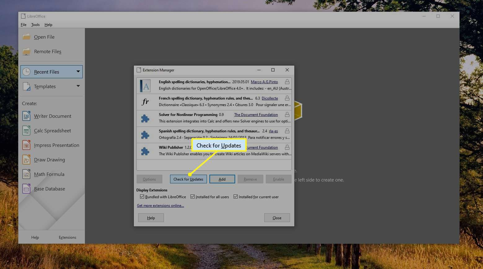 Check for Updates highlighted in LibreOffice Extension Manager