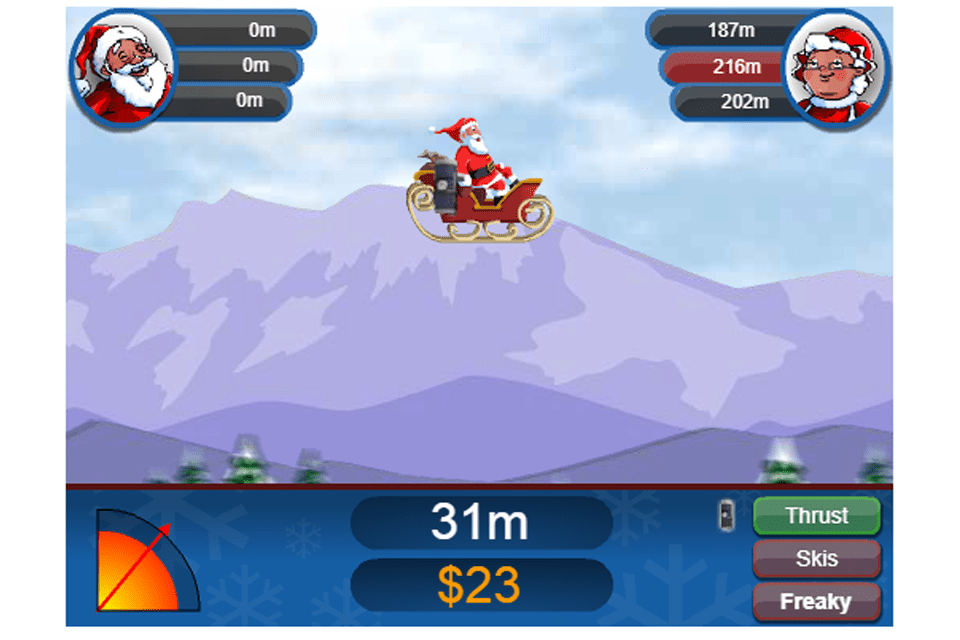Screenshot of the Sleigh Shot Classic free online Christmas game