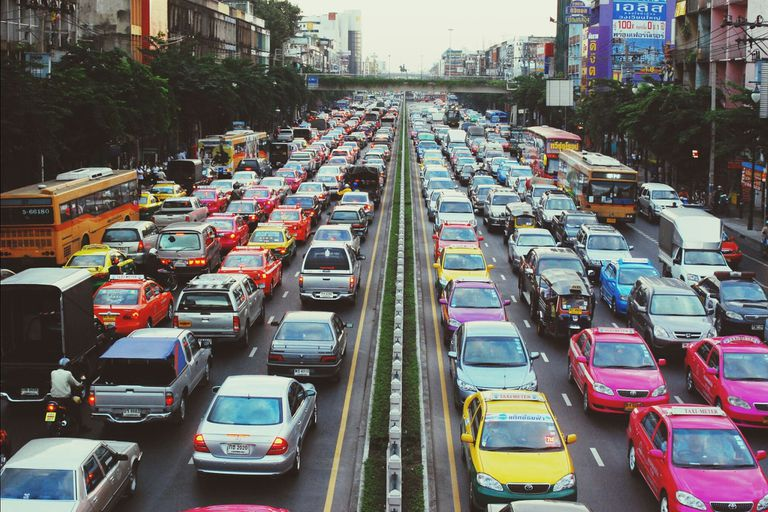 High Angle View Of Traffic Jam On Street