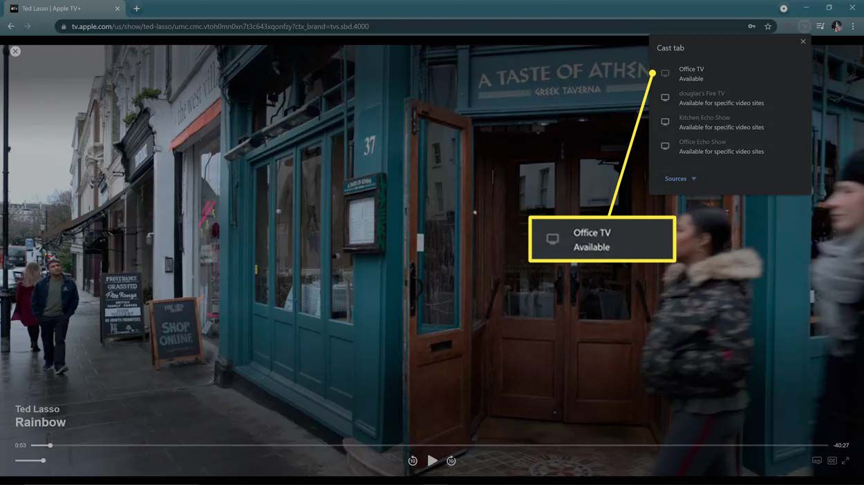 Office TV highlighted in the cast menu in Chrome.