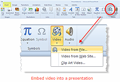 Embed a video into PowerPoint 2010 from a file on your computer or from a website like YouTube