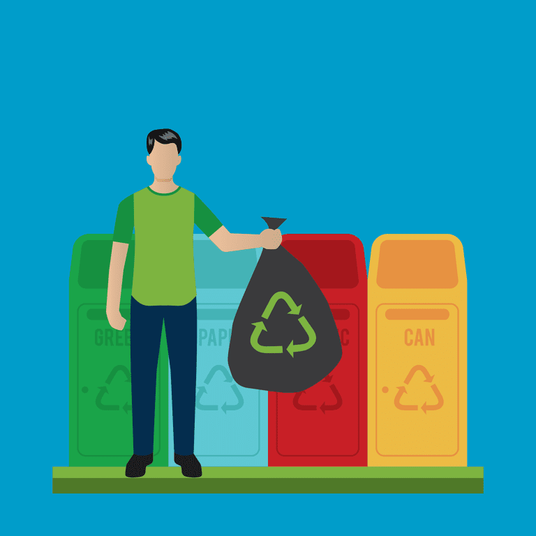 Cartoon of man and trash cans with recyclable logos