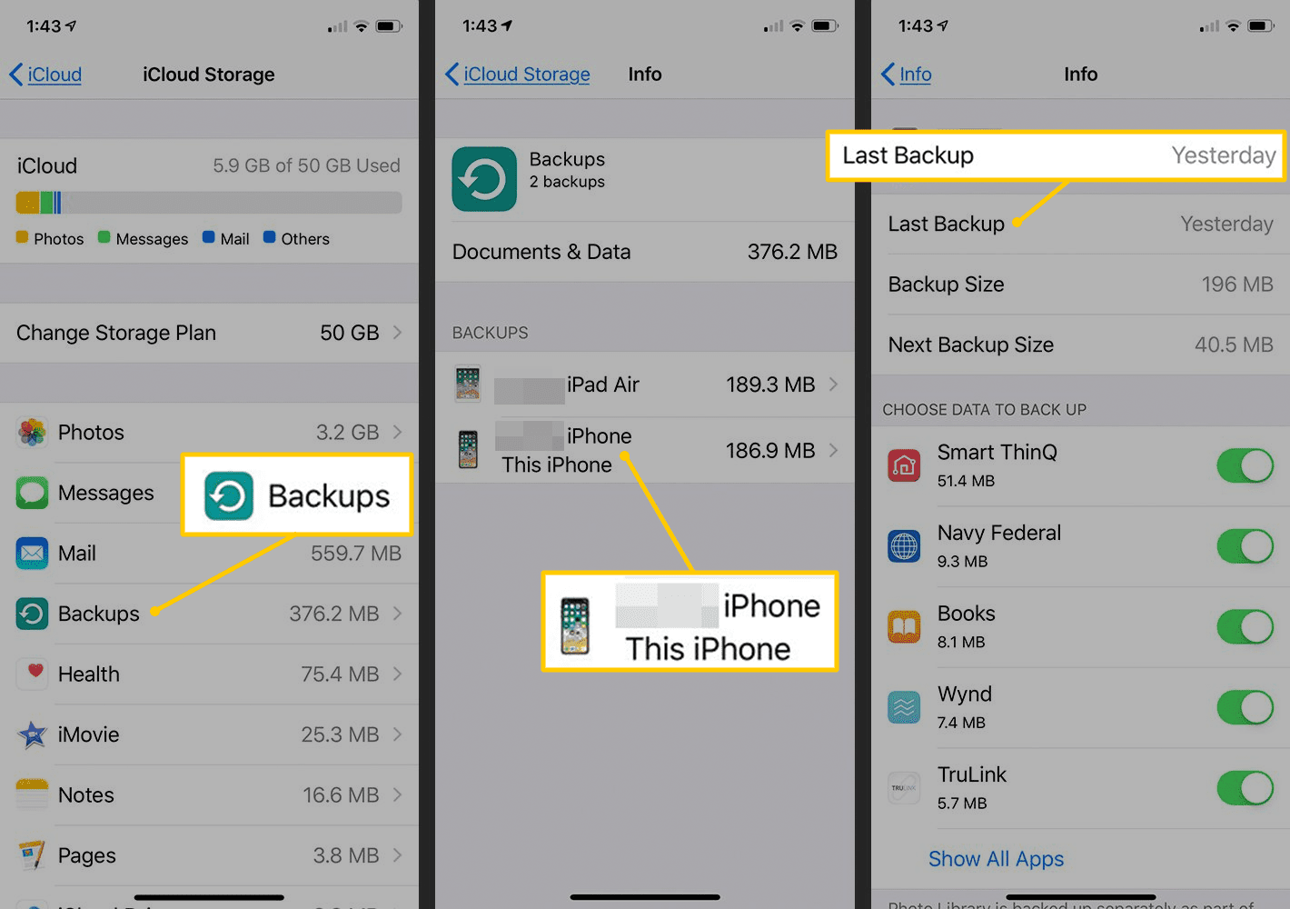 Backups, This iPhone, Last Backup in iOS Settings