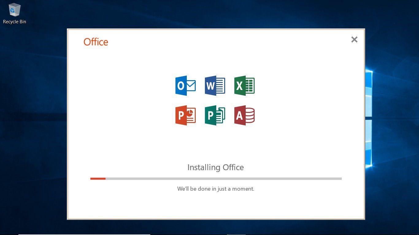 The Office 365 installation window