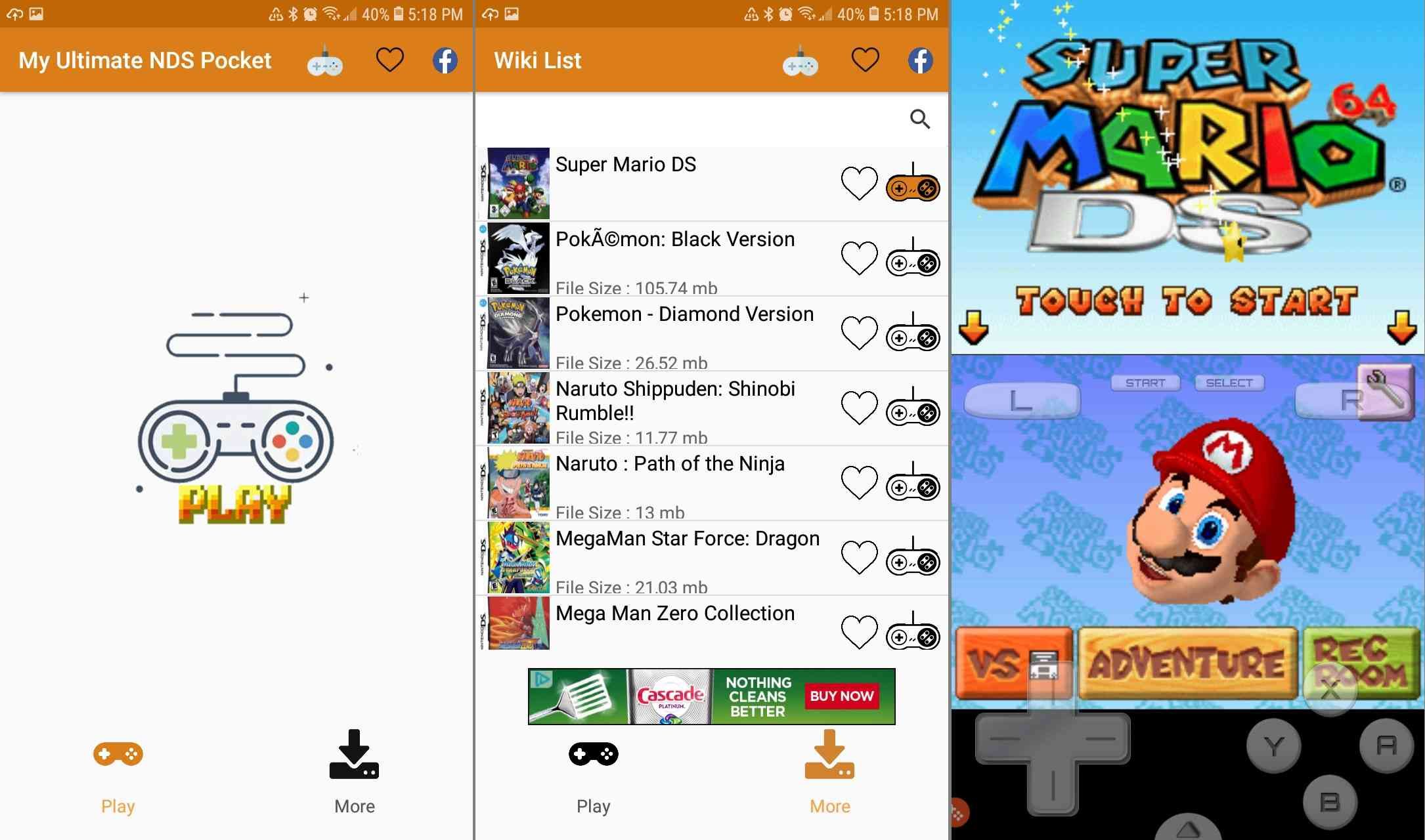 Download DS games with the N.DS Pocket of Simulator for Android.