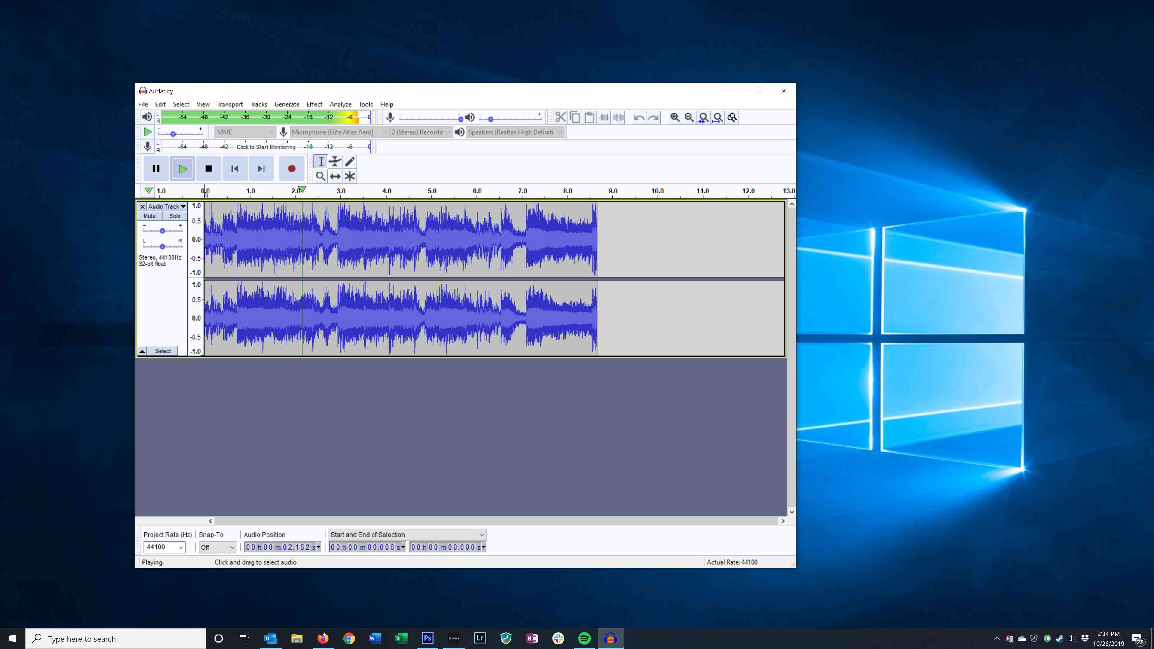 Playing back recorded audio in Audacity
