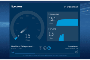 Screenshot of the Spectrum/Charter internet speed test