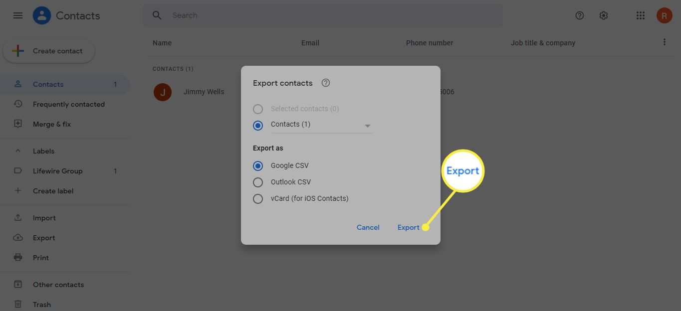 Export under Export Contacts in Gmail