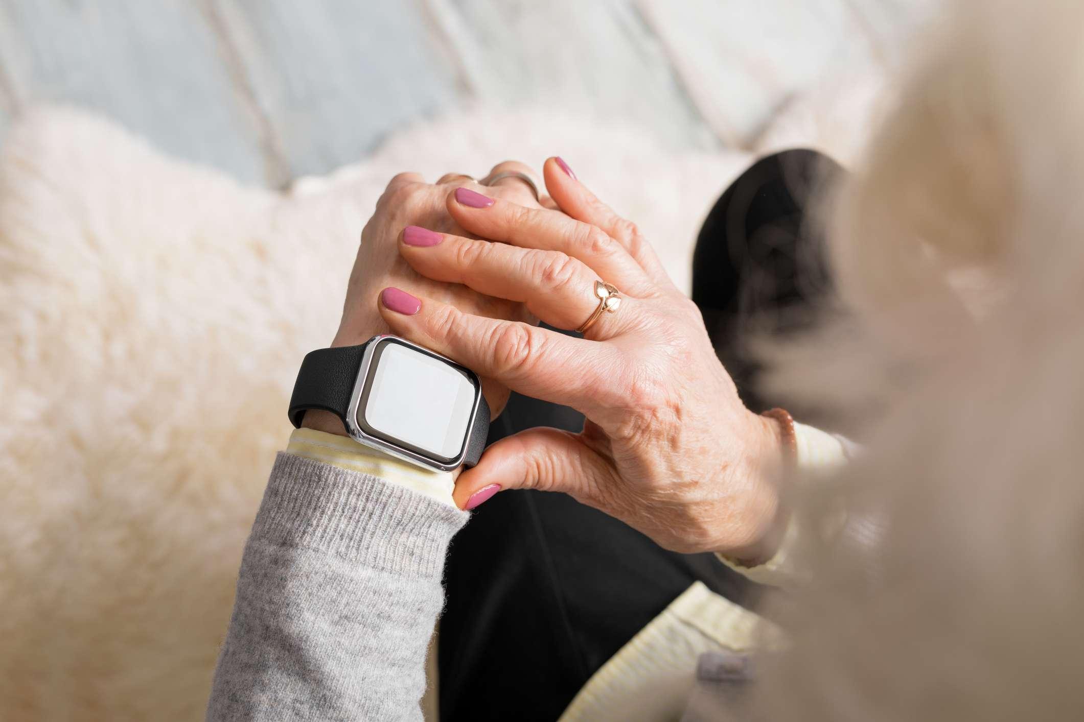 Apple watch on elderly woman's wrist