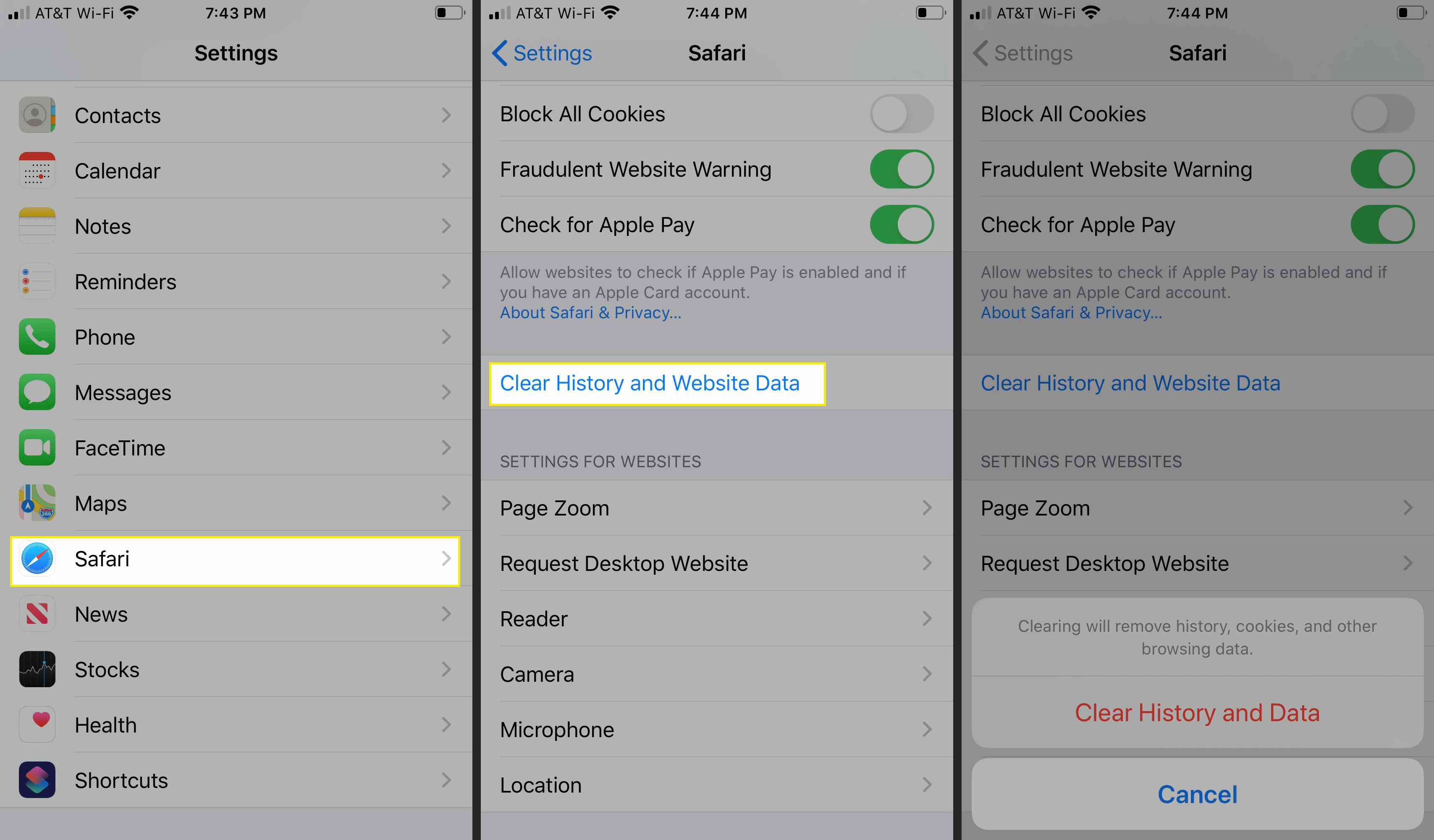 Clear History and webite data in Safari for iOS